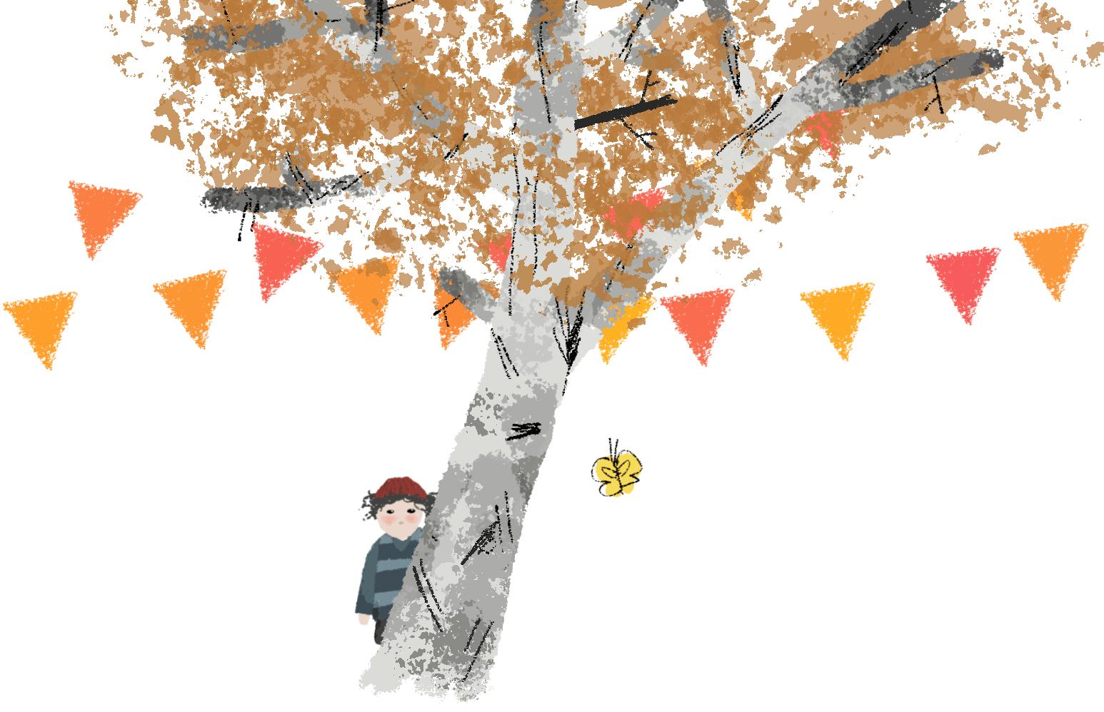PomPom hinterm Baum